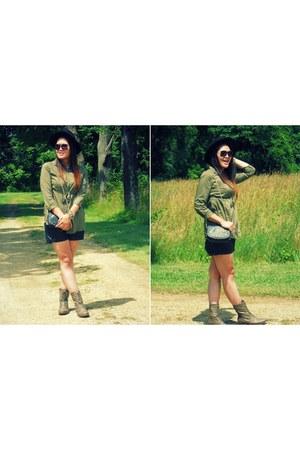 H&M Basic Camo Shirt blouse - Madden Girl Boots boots - H&M Fedora hat