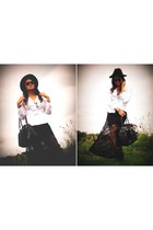 diy skirt - black fedora hat - diy blouse - tribal necklace accessories