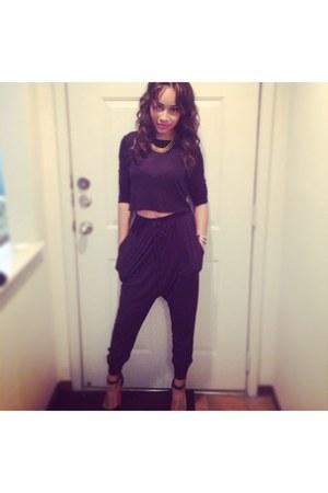 black Zara top - black hot pink wedges - black harem Urban Outfitters pants