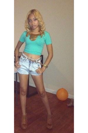 aquamarine American Apparel shirt - camel shoes - high-waist thrifted shorts