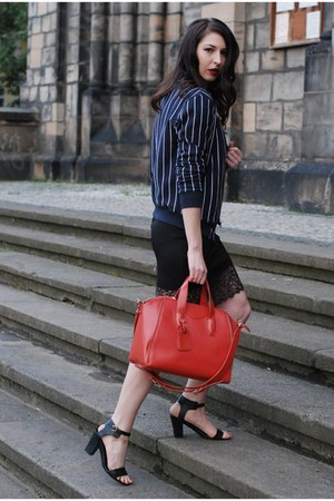 black Zara dress - navy H&M jacket - red Topshop bag