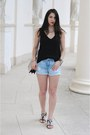 Blue-zara-shorts-black-h-m-top-silver-h-m-necklace