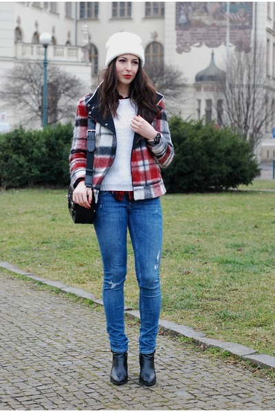 ruby red Zara jacket - blue H&M jeans - black Zara bag