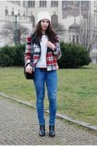 ruby red Zara jacket - blue H&M jeans - black Zara bag