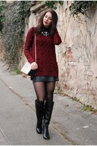 crimson F&F jumper - black next boots - off white H&M bag