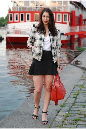red Topshop bag - white Mango jacket - black Topshop skirt