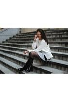 white hm jumper - heather gray DIY skirt