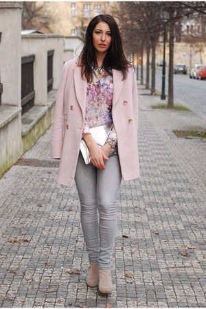 light pink warehouse coat - lindex jeans - light purple DIY shirt