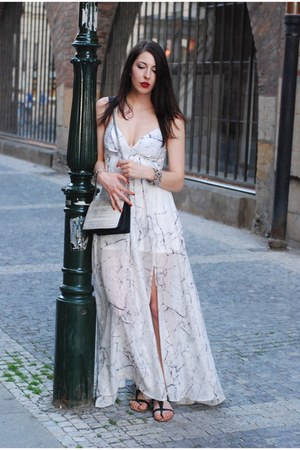 white lindex dress - heather gray H&M bag - black Zara sandals
