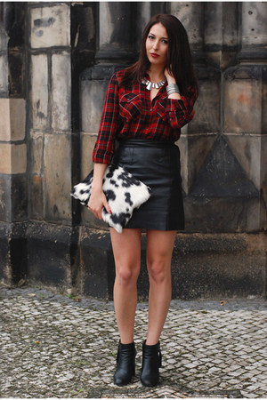 ruby red Stradivarius shirt - white DIY bag - black vintage skirt
