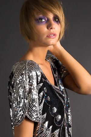vintage sequin telltale hearts blouse
