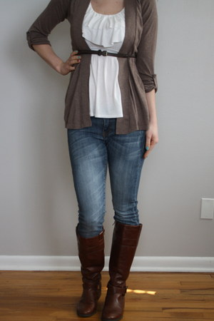 blouse - brown cardigan cardigan - brown braided belt