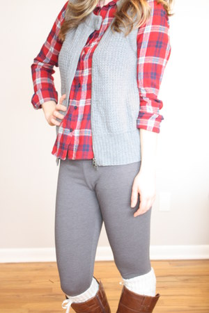 flannel shirt - gray leggings - gray vest