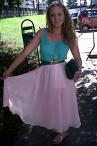light pink random brand skirt - green random brand purse