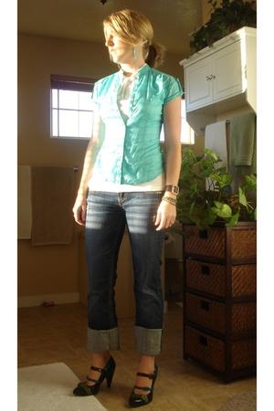 isaac mizrahi shirt - Old Navy shirt - MEK jeans - naughty monkey shoes - Old Na
