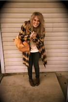 brown Lux coat - brown lace-up thrifted shoes - black Kill City jeans