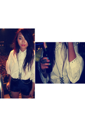 studded shirt studded shirt shirt - discoshorts shorts - bodychain accessories