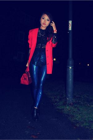 red blazer blazer - leggings - red bag bag