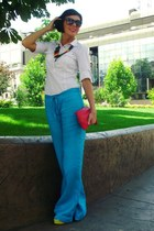 white Zara shirt - hot pink Mango bag - turquoise blue Zara pants - yellow Zara