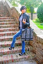 gray Zara sweater - black Ovieese jacket - blue TRF jeans - gray Emelie Strandbe