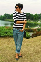 Zara blouse - boyfriends jeans - Stradivarius bag - Dorothy Perkins flats