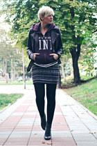 black H&M jacket - black OASAP boots - crimson Victorias Secret sweater