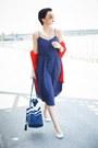 Navy-lindex-dress-red-lindex-sweater-navy-lindex-bag