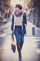 navy Choies jacket - dark brown Stradivarius boots - blue lindex jeans
