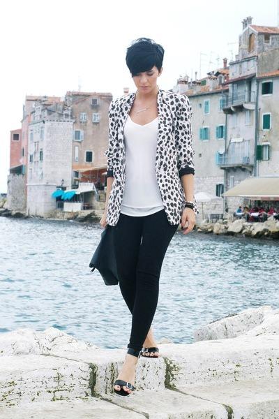 tan Joes Jeans blazer - black H&M leggings - white New Yorker shirt
