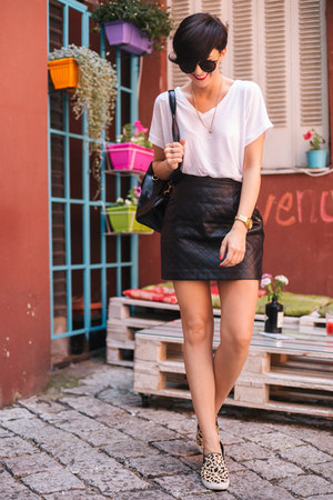 black OASAP bag - black 6ks skirt - camel Aldo flats - white Zara t-shirt