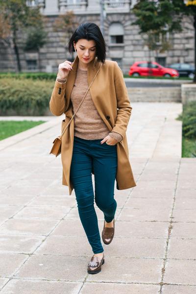 brown ecco loafers - bronze Zara coat - mustard CREAM of Scandinavia sweater