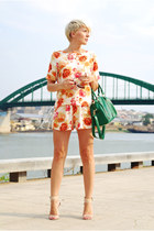 salmon Sheinside shorts - forest green WOAKAO bag - salmon Sheinside blouse
