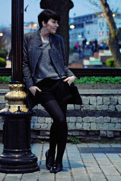 black Mistral bag - gray By Zoe coat - heather gray Zara sweater