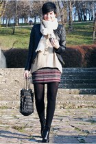 brick red H&M skirt - black Momenti boots - black lindex jacket
