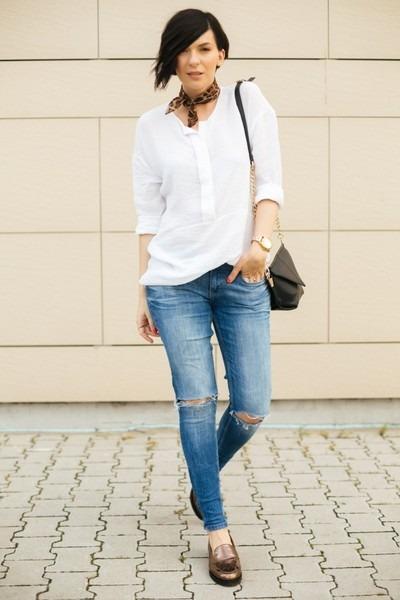 white Mango blouse - teal Zara jeans - black shein bag - bronze ecco flats