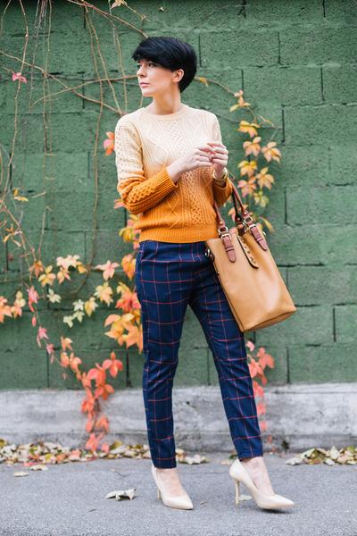 carrot orange Sheinside sweater - cream ABG shoes - bronze HereJ bag