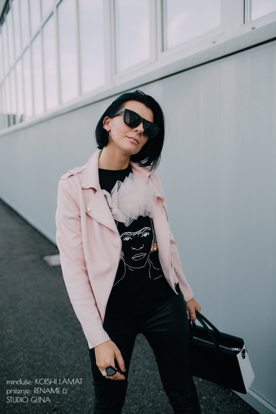 black reserved boots - light pink reserved jacket - white Karl Lagerfeld bag
