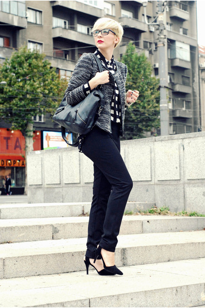 heather gray lindex blazer - black lindex bag - silver lindex blouse