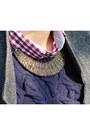 Gray-by-zoe-coat-blue-zara-jeans-navy-massimo-dutti-sweater-red-zara-shirt