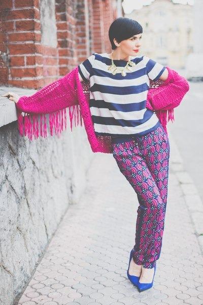 hot pink lindex sweater - white lindex shirt - blue lindex pants