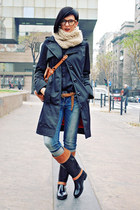 black Tommy Hilfiger boots - black Miss Sixty coat - blue Zara jeans