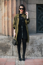 black Glam up bag - army green Front Row Shop jacket - black Zara skirt