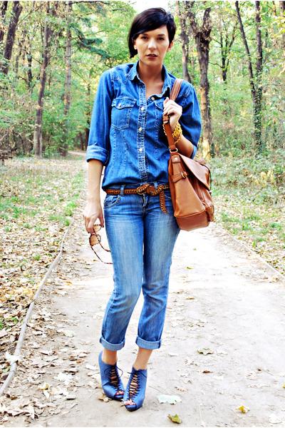 tawny Mango bag - blue Mango jeans - blue Gas shirt - navy Novecento heels