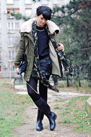 army green Lookbook Store jacket - black US Polo boots - black romwe sweater