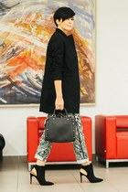 black Sheinside coat - black Zara bag - black Zara sandals - white Zara pants