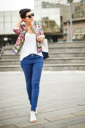 hot pink Sheinside jacket - white New Yorker shirt - blue US Polo pants