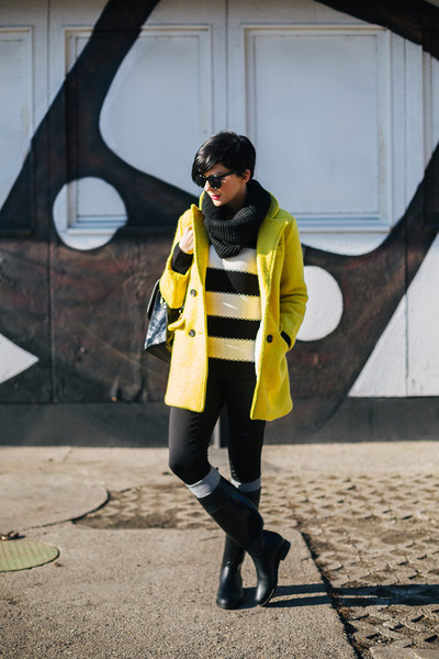 black US Polo boots - yellow Sheinside coat - white GINA TRICOT sweater