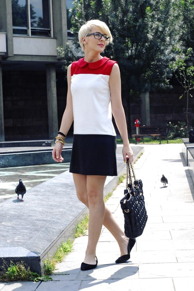 white chicnova dress - black romwe bag - black H&M flats