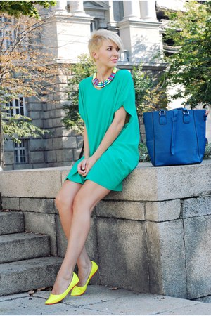 yellow Alter flats - aquamarine romwe dress - navy OASAP bag