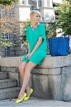 yellow Alter flats - aquamarine romwe dress - navy OASAP bag